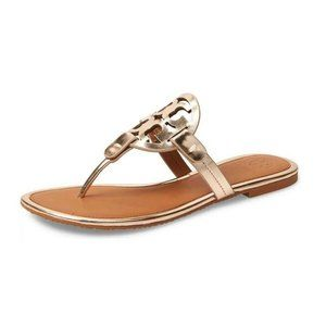 Tory Burch Miller Logo Rose Gold Flip Flop Sandals